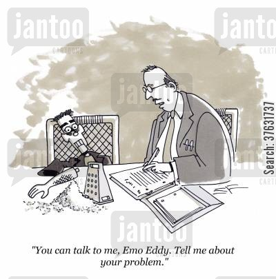 self mutilation cartoon humor: 'You can talk to me, Emo Eddy, Tell me about your problem,'