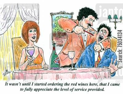 stain cartoon humor: 'It wasn't until I started ordering the red wines here, that I came to fully appreciate the level of service provided.'