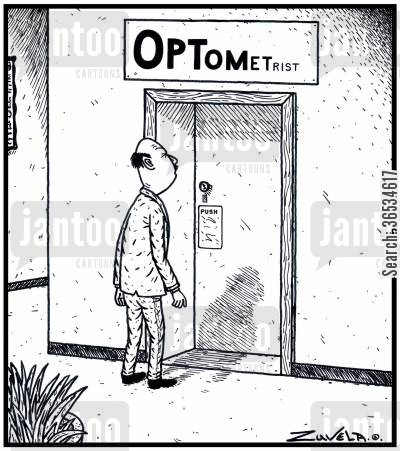 optometrists cartoon humor: An Optometrist's sign in the form of an Eye-test chart.
