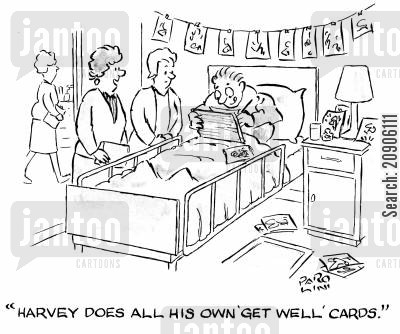 get well soon card cartoon humor: 'Harvey does all his own 'get well' cards.'