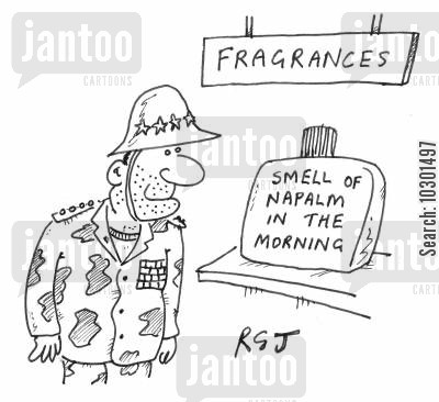 cologne cartoon humor: 'Smell of Napalm in the Morning' fragrance.
