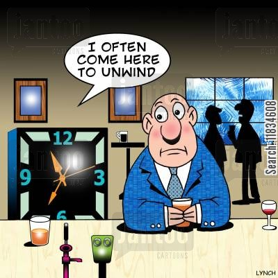 clockworks cartoon humor: 'I often come here to unwind.'