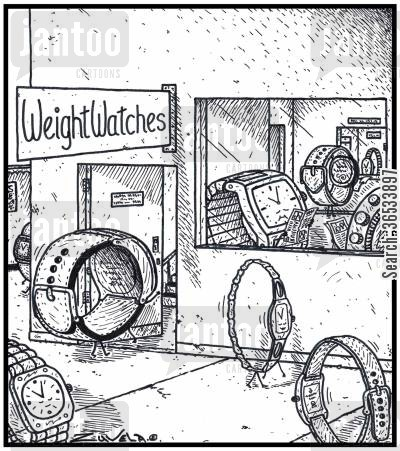 support cartoon humor: WeightWatches - Overweight Watches at a weight-loss clinic seeking help.
