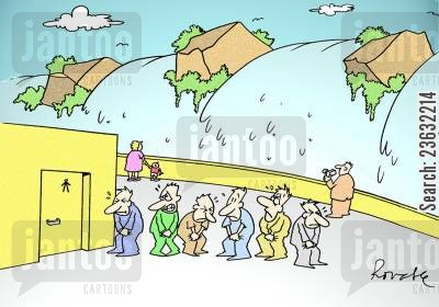 toilet queue cartoon humor: Queue for a toilet next to a waterfall.