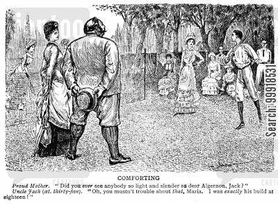 lawn tennis cartoon humor: Mother comments on son's slender figure and a stout uncle tells her that he was the same build at eighteen.
