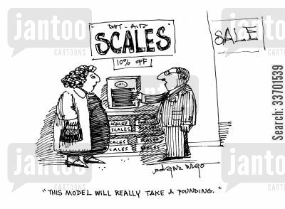 bathroom scales cartoon humor: 'This model will really take a pounding.'