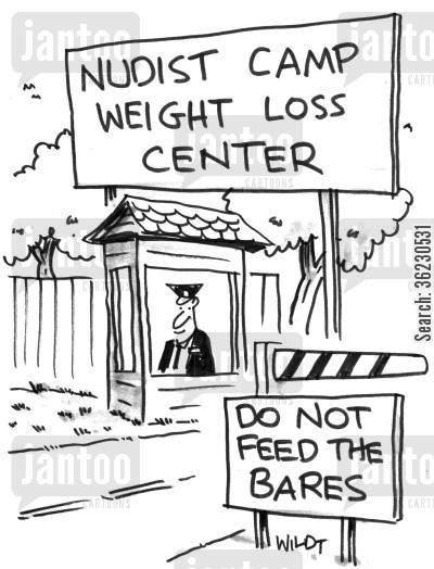nudist camp cartoon humor: 'Do Not Feed The Bares'