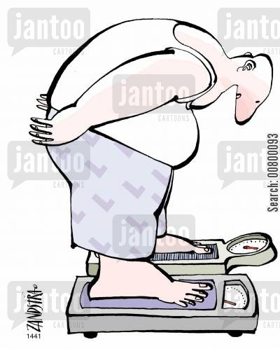 bathroom scales cartoon humor: Man with each foot on a set of scales.