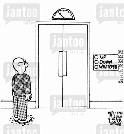 elevators cartoon humor: Up, down, whatever (elevator with apathy)