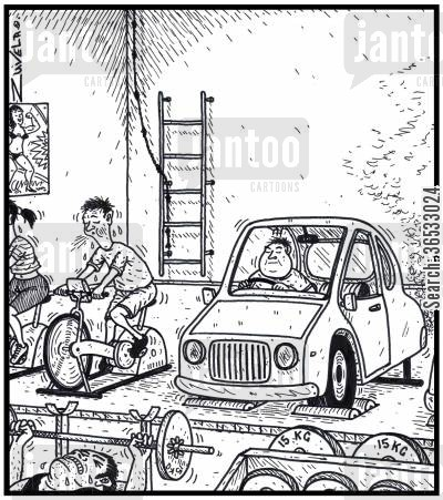 running machine cartoon humor: An overweight lazy man chooses to exercise in a car at a gym.