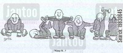 fitness instructor cartoon humor: 'Keep fit.'