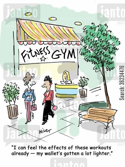 gym fee cartoon humor: I can feel the effects of these workouts already - my wallet's gotten a lot lighter.