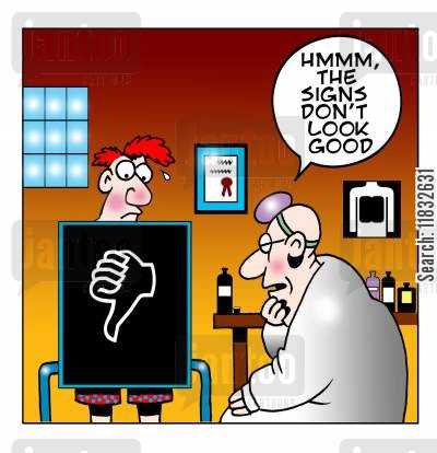 bad sign cartoon humor: Hmm, the signs don't look good...