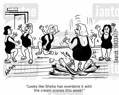 exercise classes cartoon humor: 'Looks like Shelia has overdone it with the cream scones this week!'