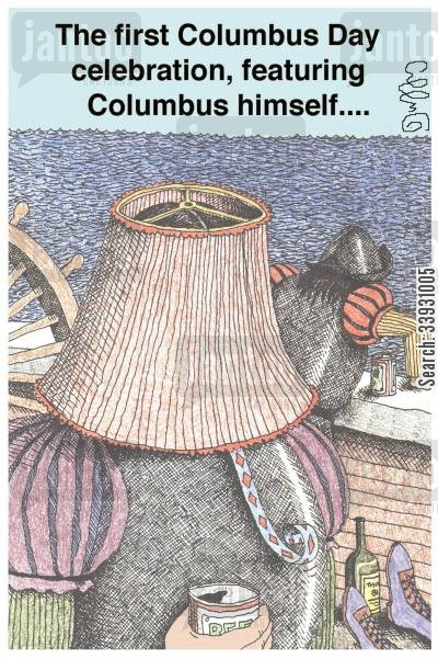 christopher columbus cartoon humor: The first Columbus Day celebration, featuring Columbus himself....