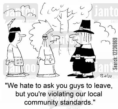 community standards cartoon humor: 'We hate to ask you guys to leave, but you're violating our local community standards.'