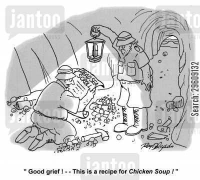 found cartoon humor: 'Good grief! This is a recipe for Chicken Soup!'