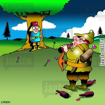 folk hero cartoon humor: William Tell gets ready