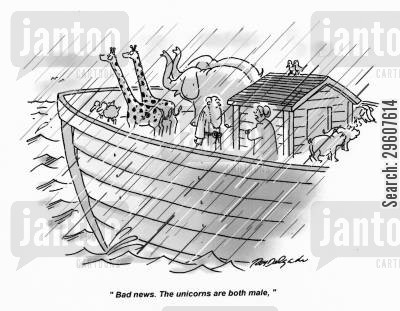 ark cartoon humor: 'Bad news. The unicorns are both male.'