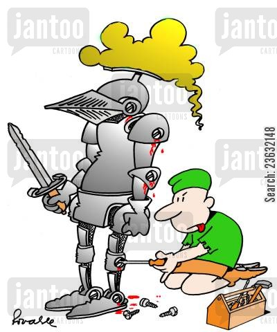 suit of armor cartoon humor: Servant unscrews knight from his suit of armour.