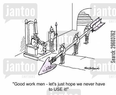 construct cartoon humor: 'Good work men, let's just hope we never have to use it!'