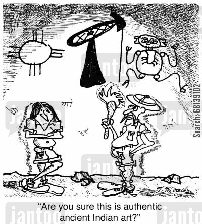 indian art cartoon humor: 'Are you sure this is authentic ancient Indian art?'
