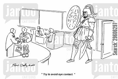 contact cartoon humor: 'Try to avoid eye contact.'