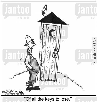 padlocks cartoon humor: 'Of all the keys to lose.'