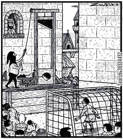 guillotine cartoon humor: A Soccer goalie getting ready to deflect the head of a soon-to-be executed man