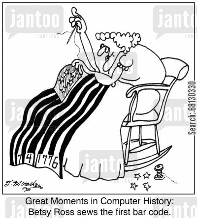 computing history cartoon humor: Great Moments in Computer History: Betsy Ross sews the first bar code.