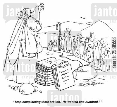 ruling cartoon humor: 'Stop complaining there are ten. He wanted one-hundred!'