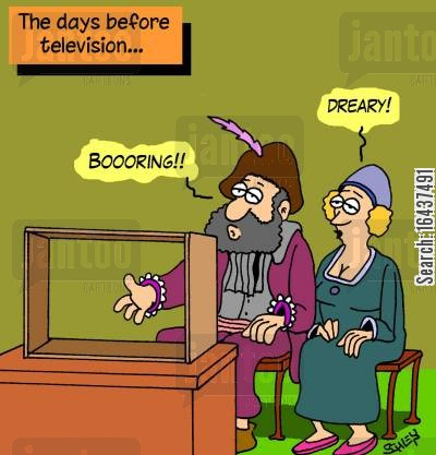 technological development cartoon humor: The days before television