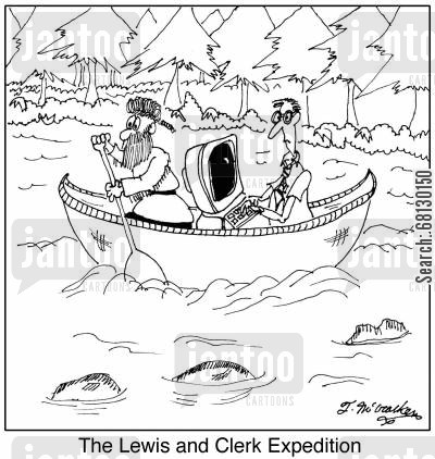 kayak cartoon humor: The Lewis and Clerk Expedition.