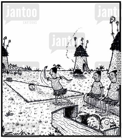 team sports cartoon humor: CannibalsHeadhunters playing a game of Tenpin Bowling using Explorers and Missionaries heads for bowling balls