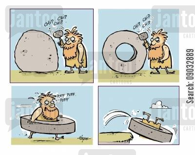 neandethal cartoon humor: Caveman chipping out wheel, then trying to fly.