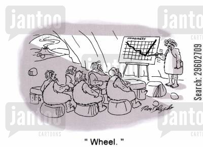 discovers cartoon humor: 'Wheel.'