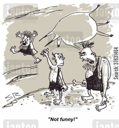 caricature cartoon humor: 'Not funny!'