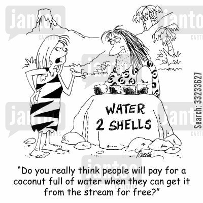 cave women cartoon humor: 'Do you really think people will pay for a coconut full of water when they can get it from the stream for free?'