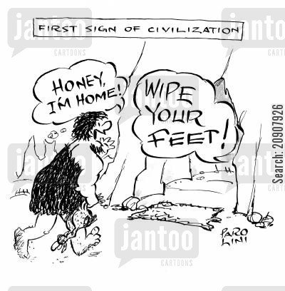 dirty feet cartoon humor: 'Honey, I'm home!' 'Wipe your feet!'