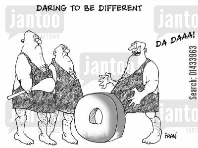 invent the wheel cartoon humor: Daring to be different.