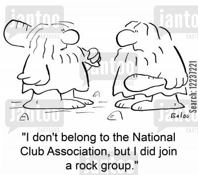 national rifle association cartoon humor: 'I don't belong to the National Club Association, but I did join a rock group.'