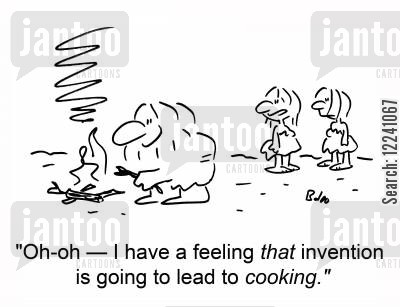 male cooking cartoon humor: 'Oh-oh - I have a feeling that invention is going to lead to COOKING.'