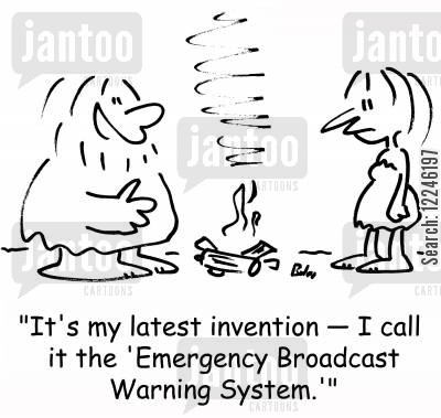 emergency call cartoon humor: 'It's my latest invention -- I call it the 'Emergency Broadcast Warning System.''