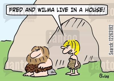palaeontology cartoon humor: 'Fred and Wilma live in a house.'