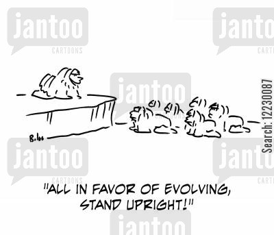 standing upright cartoon humor: 'All in favor of evolving, stand upright!'