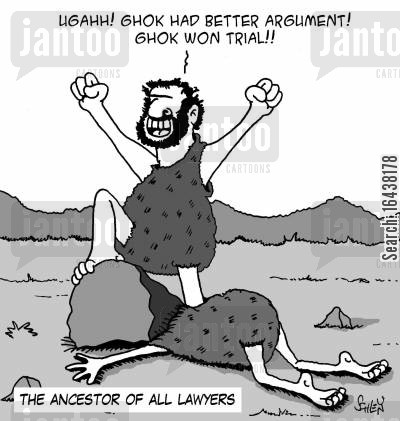 ancestry cartoon humor: The ancestor of all lawyers