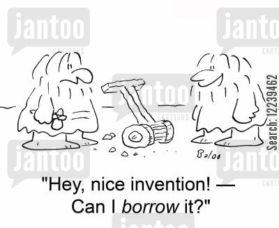 lawnmowers cartoon humor: 'Hey, nice invention! -- Can I borrow it?'