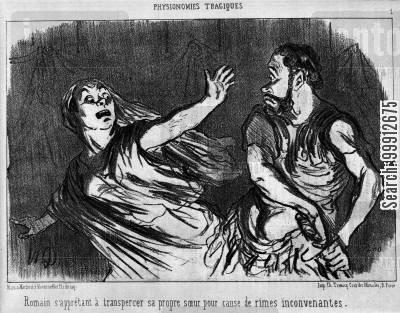 classicism cartoon humor: Tragic Physiognomies - A Roman about to kill his sister with his sword on account of indecent rhymes