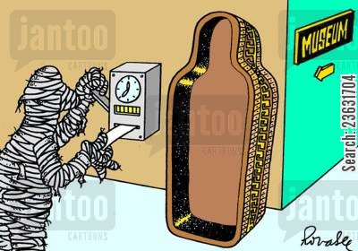 clocks out cartoon humor: Mummy in museum.