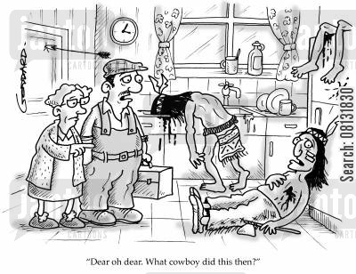 cowboy builder cartoon humor: 'Dear oh dear, what cowboy did this then?'